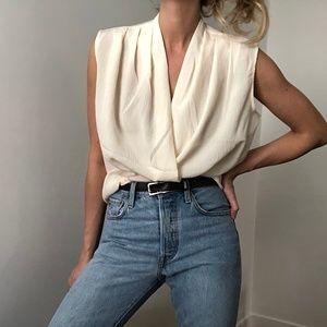 VINTAGE/ pleated sleeveless blouse